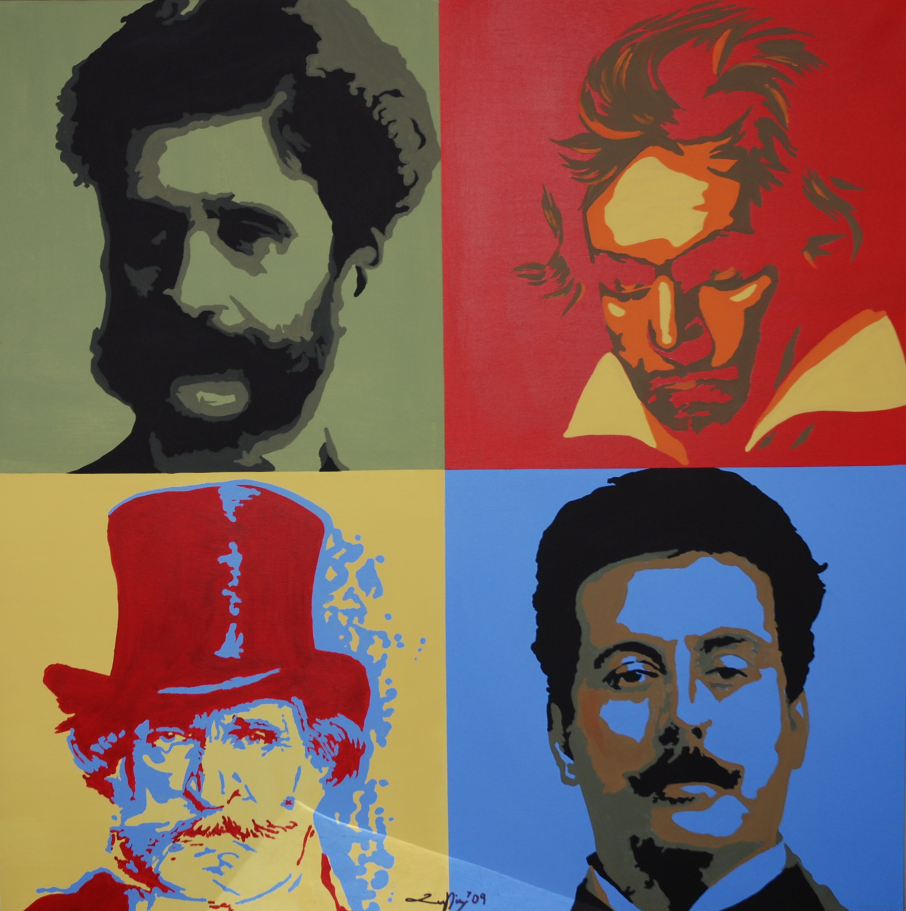 Puccini, Strauss, Beethoven and Verdi Portrait - Unique work piece