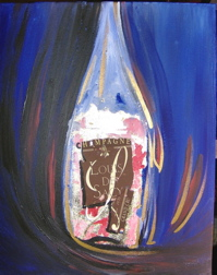 "Painting ""Bottle of Champagne B30"" Unique work piece"
